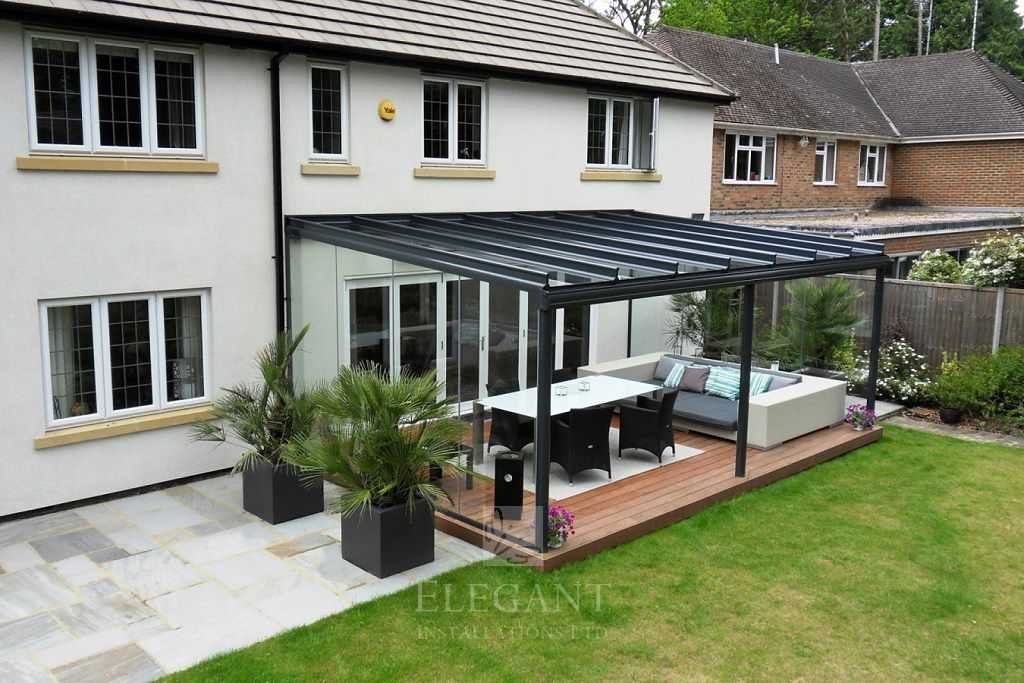 Glass Veranda In Hampshire With Fixed Glass Sides Elegant